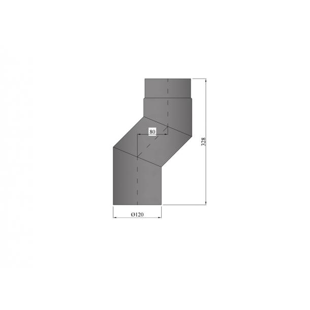 S-bøjning Ø 120 mm forskyder 80 mm