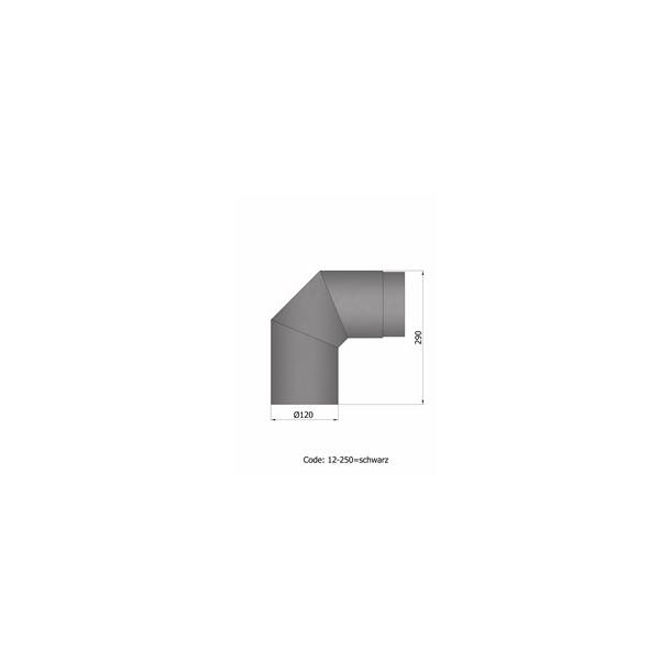 Bøjning Ø 120 mm - 2 x 45 gr. u. renseklap