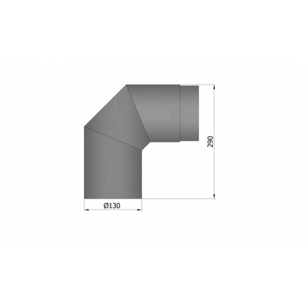 Bøjning Ø 130 mm - 2x45 gr.