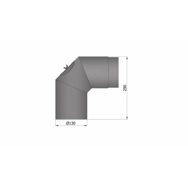 Bøjningn Ø 130 mm - 2x45 gr. m. rens