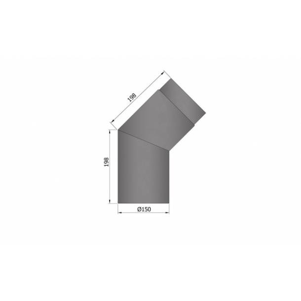 Bøjning Ø 150 mm - 45 gr.