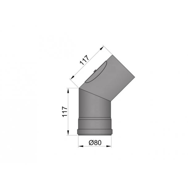 Bøjning Ø 80 mm - 45 gr. med renseklap