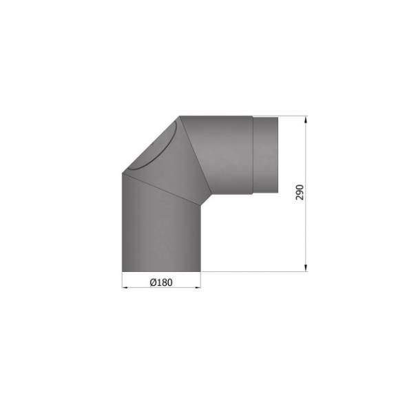 Bøjning Ø 180 mm - 2x45 gr. m. rens