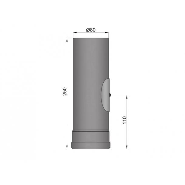 Lige rør Ø 80 mm/250 mm med renseklap