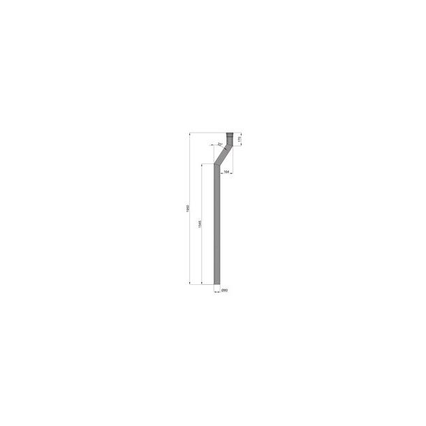 Uisoleret startrør med 15 cm forskydning