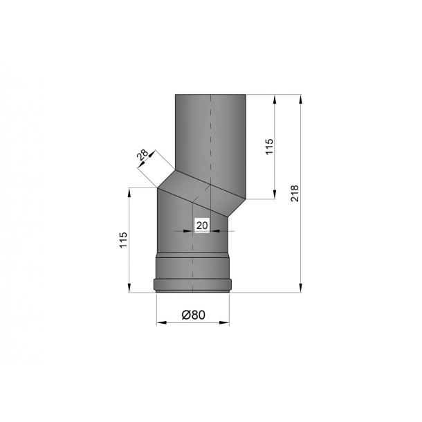 S-bøjning Ø 80 mm forskyder 20 mm.