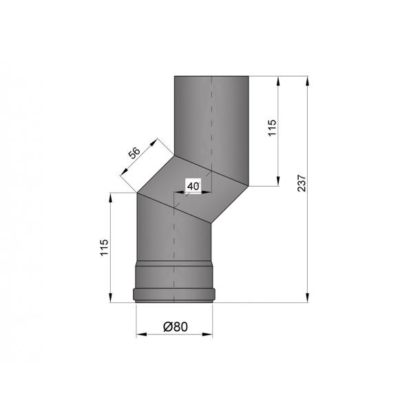 S-bøjning Ø 80 mm forskyder 40 mm