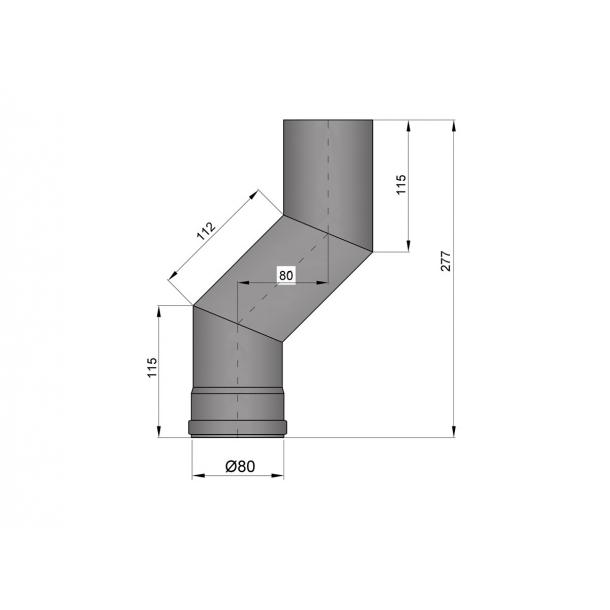S-bøjning Ø 80 mm forskyder 80 mm