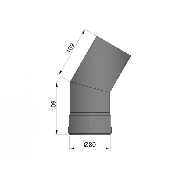 Bøjning Ø 80 mm - 30 gr. uden renseklap