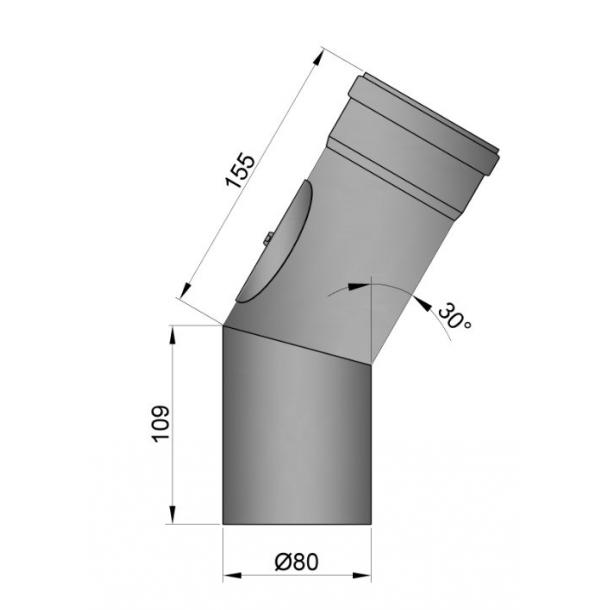 Bøjning Ø 80 mm - 30 gr. med renseklap