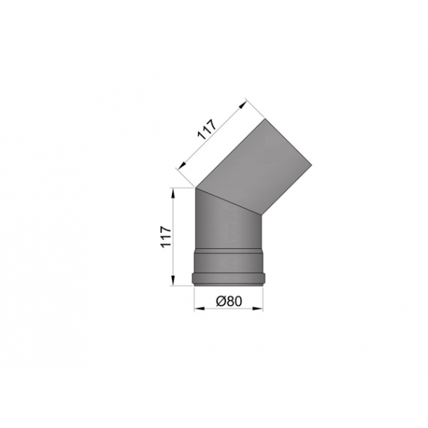 Bøjning Ø 80 mm - 45 gr. uden renseklap