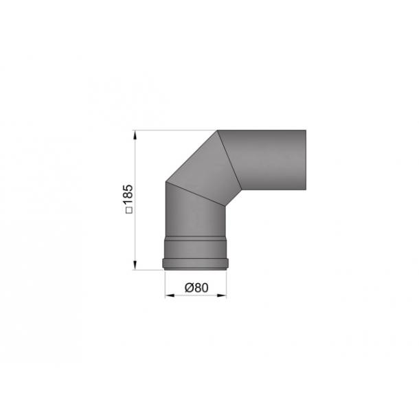 Bøjning Ø 80 mm - 2x45 gr. uden renseklap