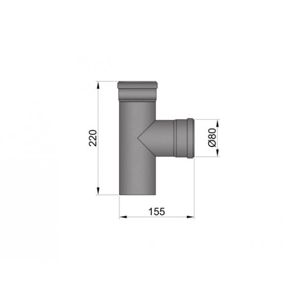 T-stykke Ø 80 mm - muffe/muffe