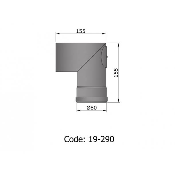 Bøjning Ø 80 mm - 90 gr. med renseklap