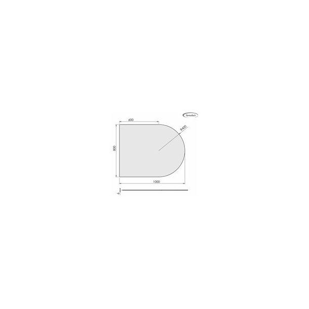 Lige med cirkelbue - 800x1000 mm (glas 6 mm)