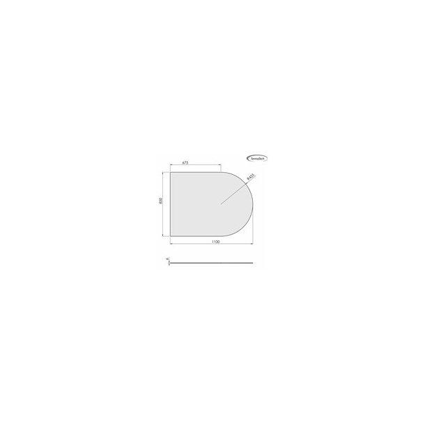 Lige med cirkelbue - 850x1100 mm (6 mm glas)