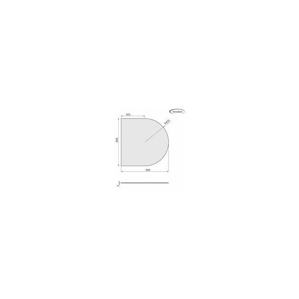 Lige med cirkelbue - 850x850 mm (glas 6 mm)