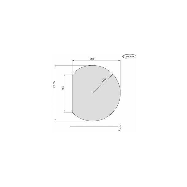 Cirkel med lige bagkant - 950x1100 mm