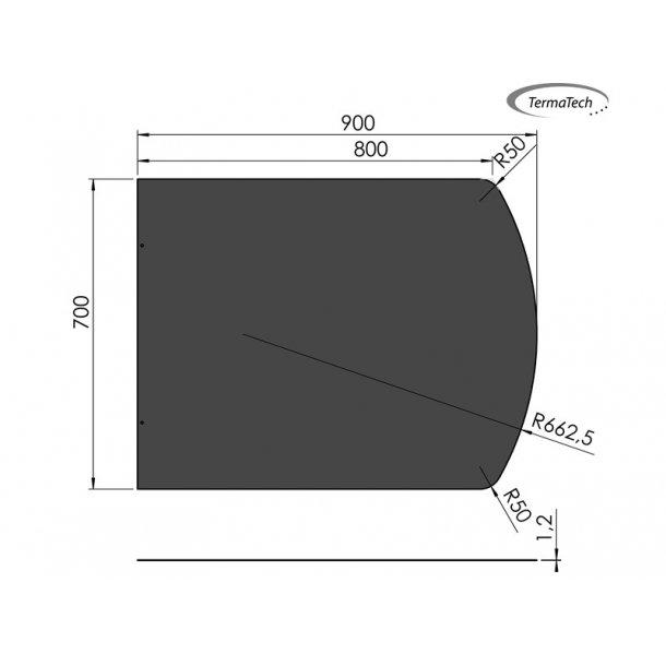 Lige med flad bue - 700x900 mm- 1,2 mm sort stål
