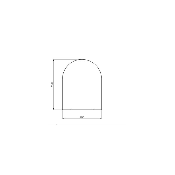Lige med cirkelbue - 700x900 mm