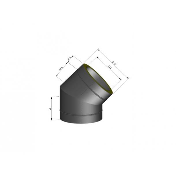 Bøjning inkl. spændebånd - 45 gr/Ø 80 mm