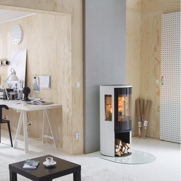 Contura 556 style hvid med glaslåge og glastop